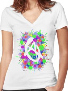 anarchy colourbomb Women's Fitted V-Neck T-Shirt
