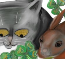 Bunny and Kitten Find Four Leaf Clover Sticker