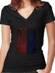 Abstract No. 8 Women's Fitted V-Neck T-Shirt