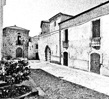 Agropoli: view square and old building by Giuseppe Cocco