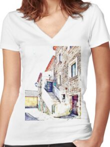 Agropoli: view old building Women's Fitted V-Neck T-Shirt