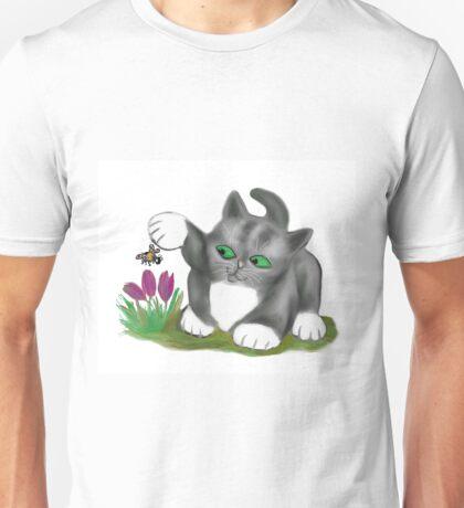 Bee Finds a Crocus and Kitten  Unisex T-Shirt