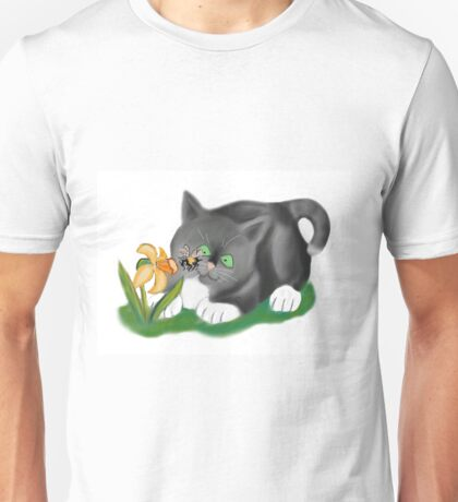 Bee, Daffodil and Grey Kitten Unisex T-Shirt