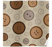 seamless brown  buttons pattern  Poster