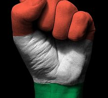Flag of Hungary on a Raised Clenched Fist  by Jeff Bartels
