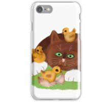 Tuxedo Kitten and Three Newly Hatched Chicks iPhone Case/Skin