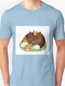 Tuxedo Kitten and Three Newly Hatched Chicks T-Shirt