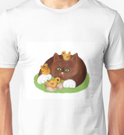 Tuxedo Kitten and Three Newly Hatched Chicks Unisex T-Shirt