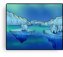 Polar Bears and the Northern Lights Canvas Print