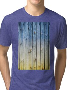 Blue yellow toned boards texture Tri-blend T-Shirt