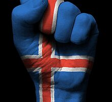 Flag of Iceland on a Raised Clenched Fist  by Jeff Bartels