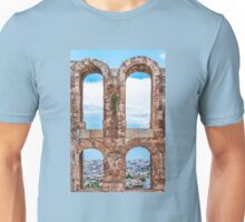 Ancient aqueduct panorama Unisex T-Shirt