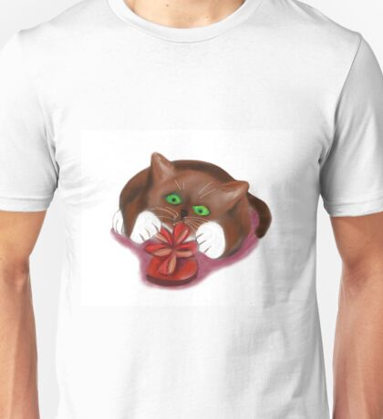 Kitten Attacks a Heart Shaped Box of Chocolates Unisex T-Shirt