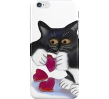 Kitten has Three Valentine Heart Catnip Toys iPhone Case/Skin