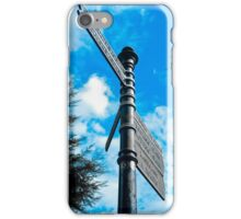 Direction pole against cloudy blue sky iPhone Case/Skin