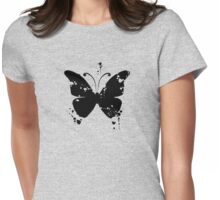 Butterfly silhouette grunge Womens Fitted T-Shirt