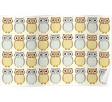 Owls In Pattern Poster