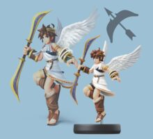 Kid Icarus Pit Smash bros Amiibo t-shirt by TheMoulinGlacia