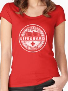 Dune Sea Lifeguard [White Distressed] Women's Fitted Scoop T-Shirt