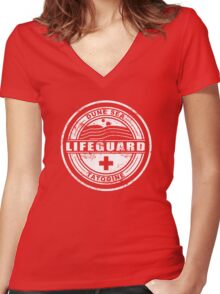 Dune Sea Lifeguard [White Distressed] Women's Fitted V-Neck T-Shirt
