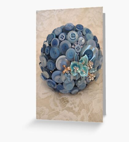Something Blue: ButtonBelleBridal Bouquet Greeting Card
