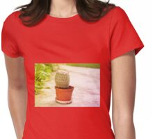 Cactus flowering pink blossoms Womens Fitted T-Shirt
