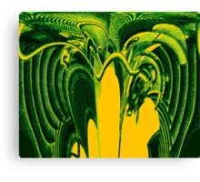 Psychedelic Green Aliens Canvas Print