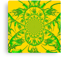 Green & Yellow Spiral Canvas Print