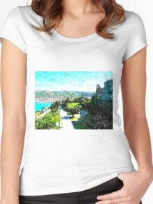 Agropoli: sea cost and castle Women's Fitted Scoop T-Shirt