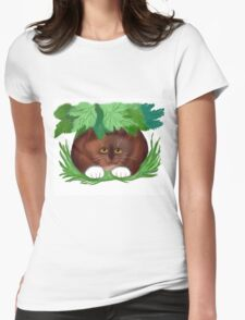 Cat Shelters under Maple Leaves  Womens Fitted T-Shirt
