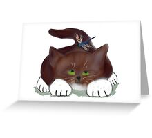Blue Dragonfly and Kitten Greeting Card