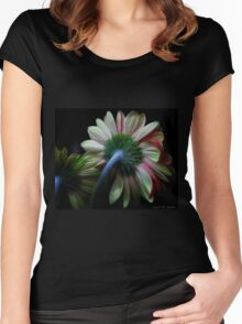 Gerbera pink yellow green Women's Fitted Scoop T-Shirt