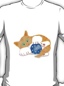 Kitten plays with a Blue Whiffle Ball T-Shirt