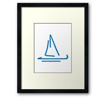 Blue sail boat Framed Print