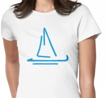 Blue sail boat Womens Fitted T-Shirt