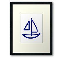 Blue sailing boat Framed Print
