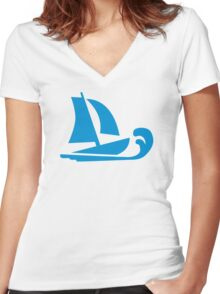 Sailing boat wave Women's Fitted V-Neck T-Shirt