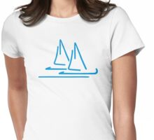 Blue sail ship Womens Fitted T-Shirt