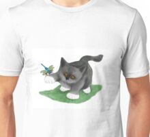 Dragonfly Lands on a Kitten's Paw Unisex T-Shirt
