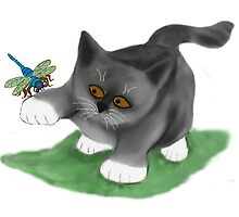 Dragonfly Lands on a Kitten's Paw by NineLivesStudio
