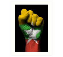 Flag of Myanmar on a Raised Clenched Fist  Art Print