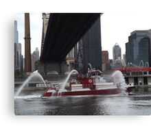 Fire Department New York Fire Boat, East River, 59th Street Bridge, New York City Canvas Print