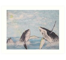 Houp Back whales Art Print