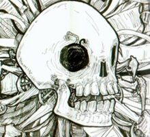 Biomechanical skull and wires Sticker