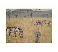 Zebras on the African Plains Art Print