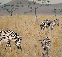 Zebras on the African Plains by cdcantrell