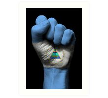 Flag of Nicaragua on a Raised Clenched Fist  Art Print