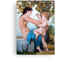 Young Girl Defending herself against Cupid  Canvas Print