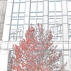 Red Tree in Front of Building by Maria Schlossberg