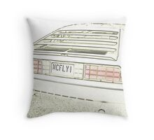 Delorean Sketch Throw Pillow